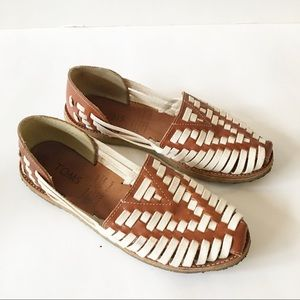 Toms Huarache Leather Cognac Flats